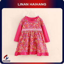 China manufcaturer Hot sale cotton long sleeve floral karachi dresses for girls