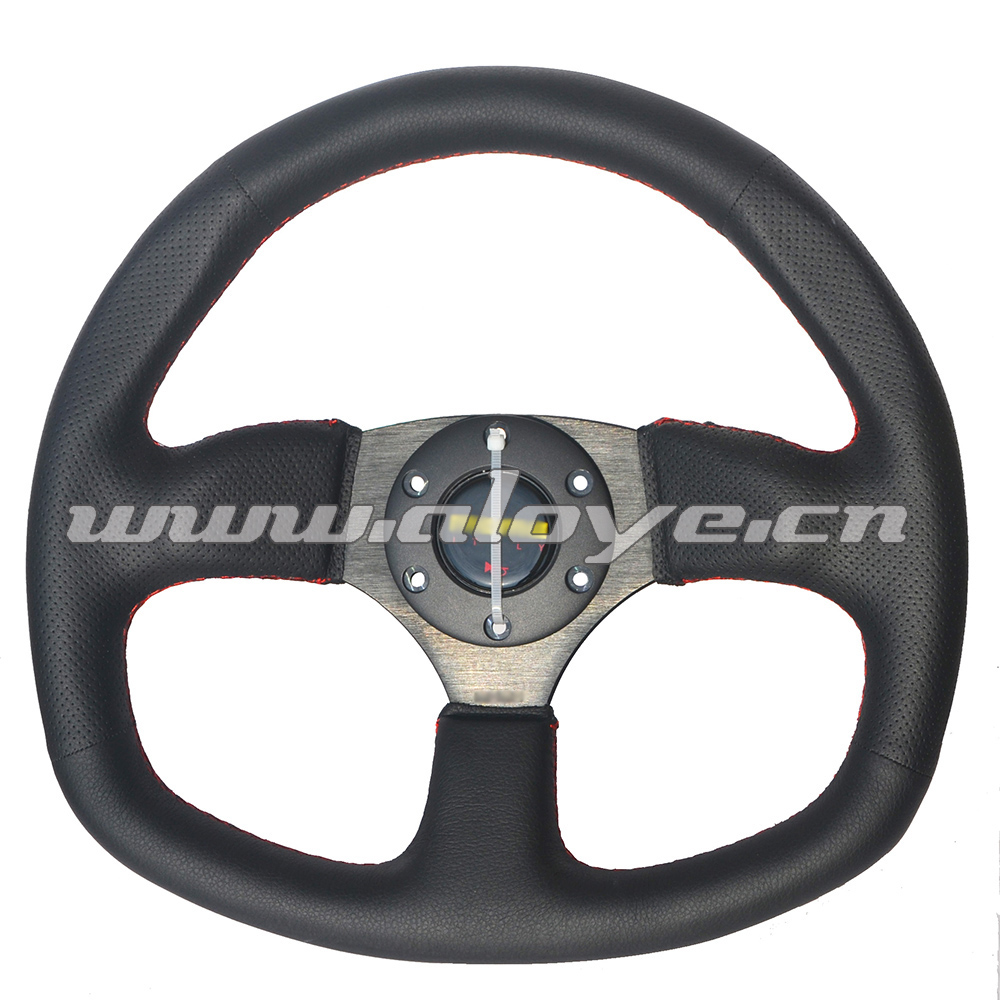 Flat Steering Wheel Leather 345mm For Racing Car