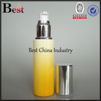 Yellow Glass Bottle-2014 hot sale white dropper fine packing colored can be recyclling bottle,and shinny cap pump spray-custom