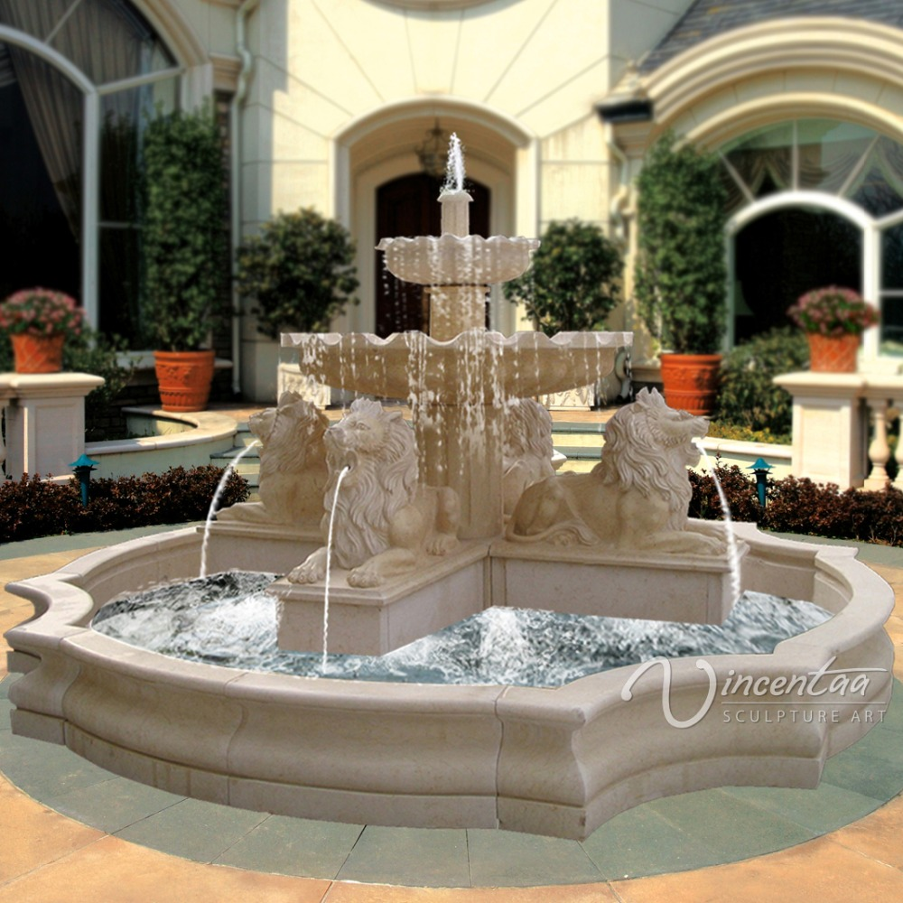 outdoor stone garden large Outdoor water lion fountain