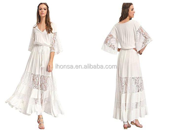 Women Maxi Cold-Shoulder Crepe Gown One Piece White Long Lace Evening Party Dress Vintage Wedding Bridesmaid Dress Gowns