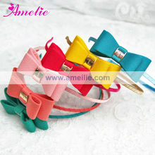 Assorted Colors Satin Covered Fancy Baby Hairbands with Bow