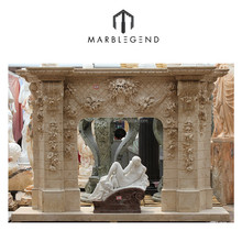 custom make hand carved natural marble free standing fireplace modern