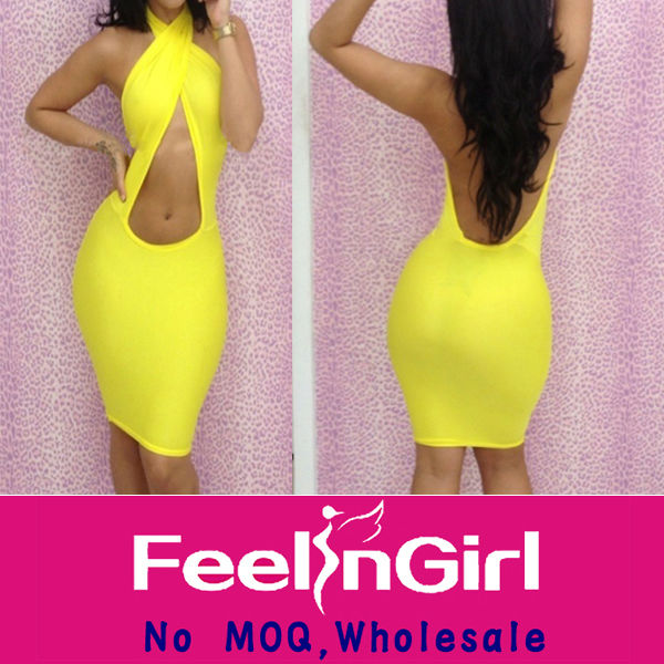 Stylish sexy yellow cut out bodycon dresses knee length