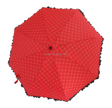 Super mini lightweight ruffles lady's 5 folding umbrella