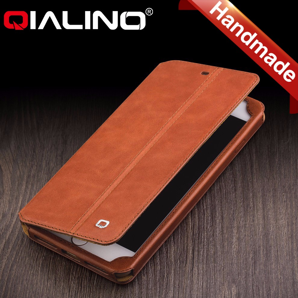QIALINO design new arrival real leather cover for iPhone 7 case flip