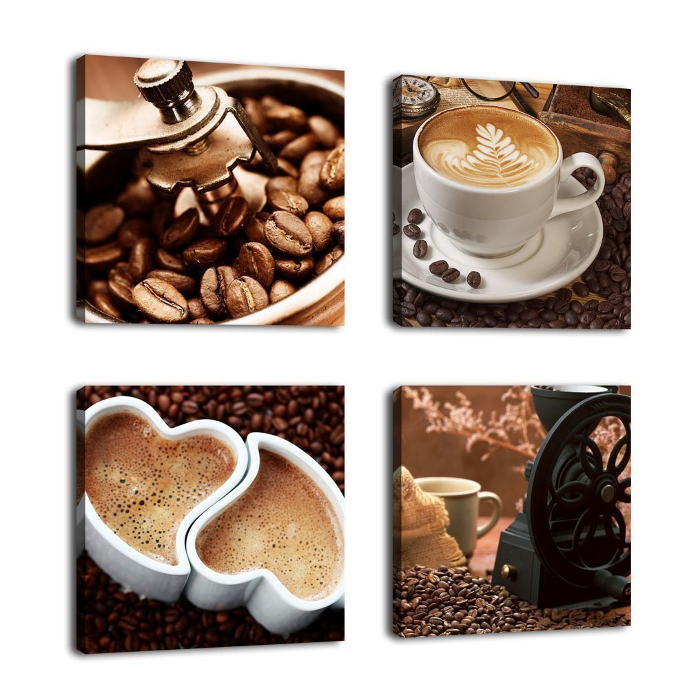 Coffee Cup Painting Printed Canvas 4 Panels Coffee Beans Poster