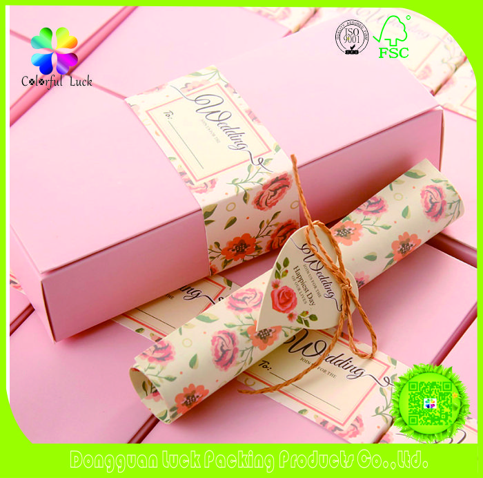 Elegant Design Custom Printing Scroll Wedding Invitation Cards with String Tie and Box Packaging