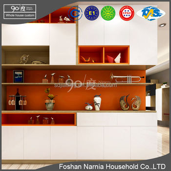 corner decorative UV board modern wooden display cabinet in malaysia