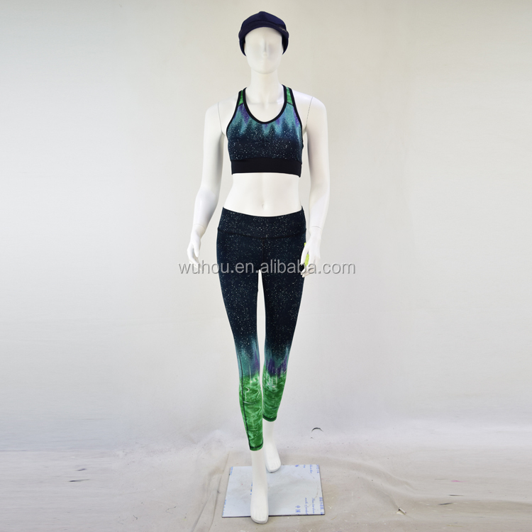 wholesale gradient coloful yoga set sexy customized printing yoga wear for women