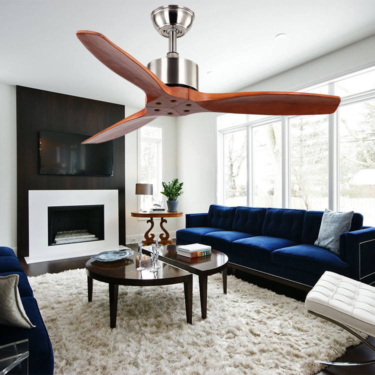 China factory classical style decorative 52'' 3 blades wood ceiling fan without light
