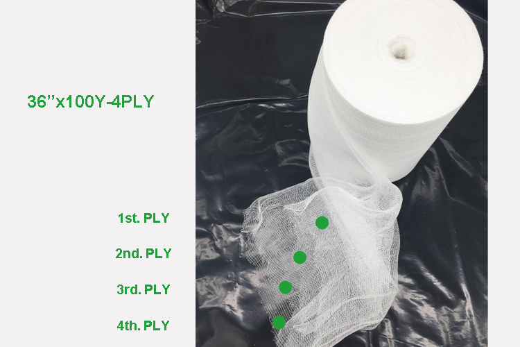 40s,32s,21s, 19x15,24x20,30x20 mesh 4 PLY Medical Bleached Hydrophilic Absorbent Cotton Gauze Roll