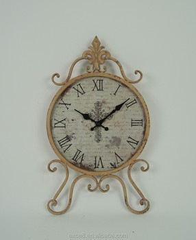 French vintage style round metal wall clock
