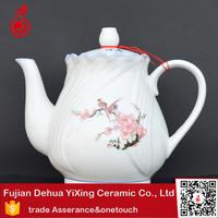 Enamel antique embossed ceramic tea pot