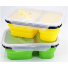 eco-friendly Foldable Food Storage Container Silicone Collapsible Lunch Bento Box
