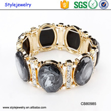 CB80985 YIWU cheap friendship bracelets 18K gold plated black white stone bracelet