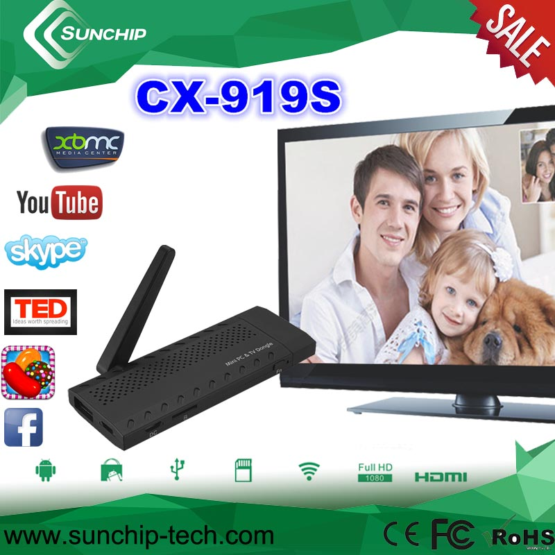 CX-919SAndroid 4.2 Quad Core TV Stick with RK3188 1.4GHz CPU, 8GB Internal Memory, 1GB RAM