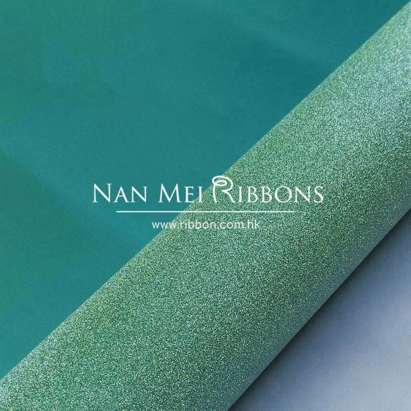 Custom high quality sea green embossed packing used glitter sparking film