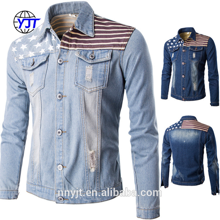 Hot Sale Thin Style Jean Shirt Denim Jacket Men with USA Flag Printing