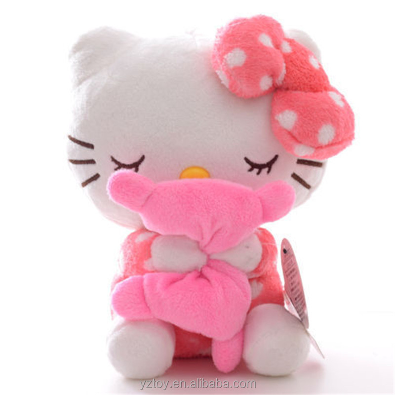 21*17*12cm Adorable Soft Pink Dots Sleeping Hello Kitty Hold Pillow Plush Japan Ainime Kitten Cat Dolls Toys 8'' New