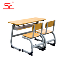 Wood and metal desk and chair wooden chair in school set for sale