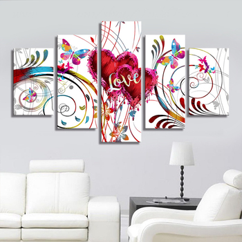 5 Piece Canvas Wall Art  Love Canvas Painting Home Goods Wall Pictures Home Decor Modern Wall Decoration Painting on Canvas