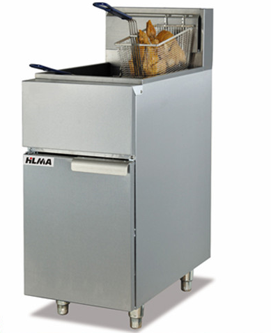 Vertical gas temperature-controlled deep fryer