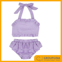 2017 Wholesale New Design Personalized Lovely Gingham Girls Swimsuit