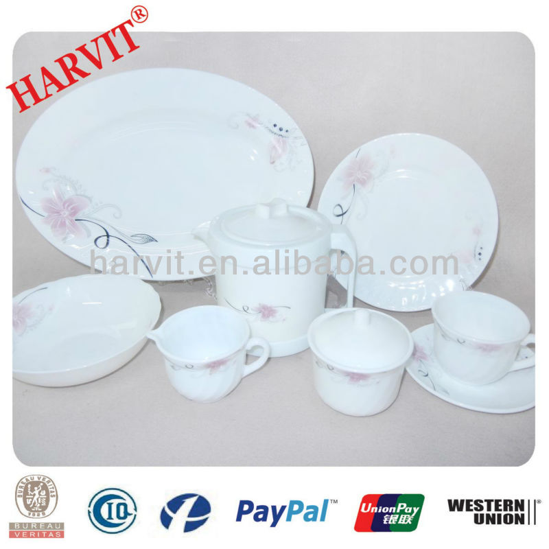 Wright White Milk Kyocera Opal Glass Tableware Dinnerware Sets Shrink Wrap Packing / Loaf Dishes plates Bowls Mugs Cups Saucers