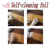Self-cleaning lamination foil for metal, aluminium