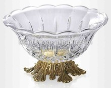 New Arrival Antique Style Crystal Fruit Bowl With Brass Base Home Art Decorated Item