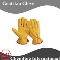 Yellow flexible and comfortable goatskin driving glove for working