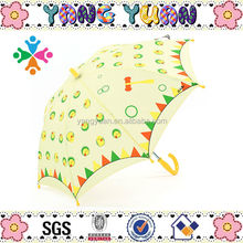 Curve Handle Yellow Polyester Chicken Print Umbrella