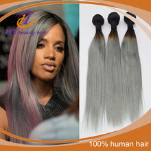 Top quality Ombre Human Hair Extensions 1B/Grey Peruvian Virgin Hair Straight 3 Pcs Ombre Peruvian Straight Hair Weaves