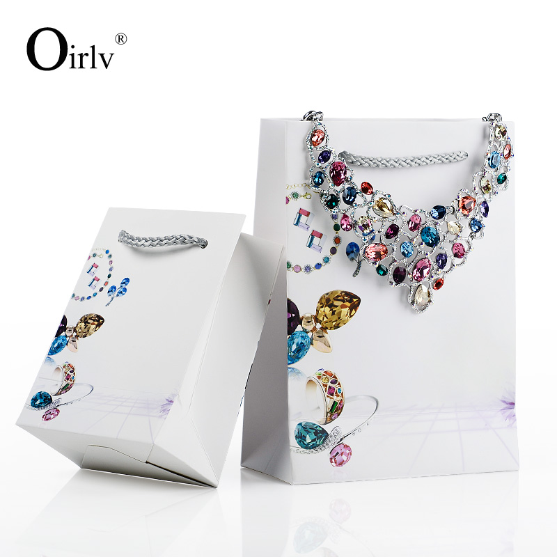 Oirlv China Bulk Price Customized Printing White Cardboard Bags with Silver Grey Nylon Cord Handle Coated Paper Gift Bag