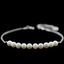 Yiwu Alibaba Stock Bulk 2015 New Trend Popular Fancy Girls Gift Item Simple New Design Silver Tinny Chain Natural Pearl Bracelet