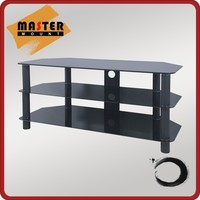 Tempered Glass and Metal Modern TV Stand Showcase
