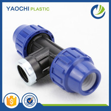 2016 hot sale pp compression fitting best price female thread pipe tee