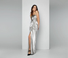 Silver sexy strapless ladies evening dress 2017 long elegant women prom gown