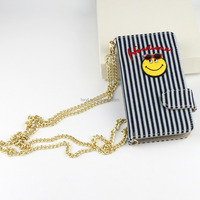 Good quality chambray embroidery emoji canvas mobile phone cover