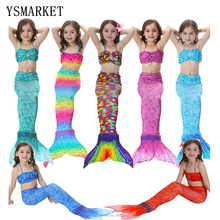 2017 3pcs Girl's Mermaid Tail Dress Cosplay Costume set Fashion Multicolor Children Mermaid Swimsuit Princess Bikini Set EJP010