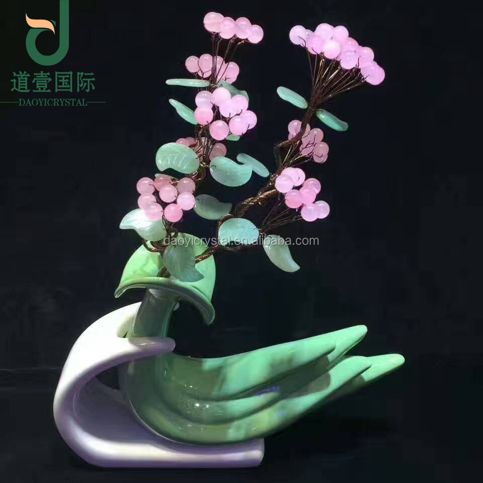 Wholesale new product natural crystal ball gift rich tree home docoration