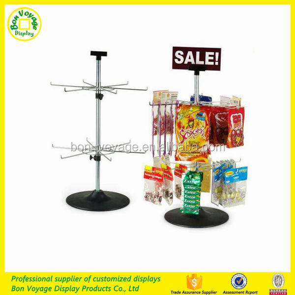Spinning counter top snack display stand multipurpose revolving display rack