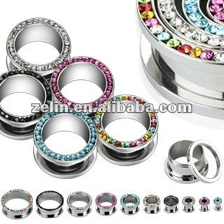 Colorful crystal ear plug tunnel body jewelry