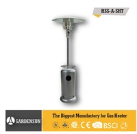 Gas heater for outdoor use (Stand-up patio heater silver hammered with table,CE)GARDENSUN 50000-13000W with CE CSA AGA ISO