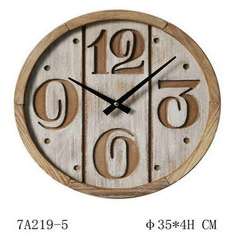 Water washed vintage wood clock wall