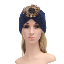 Autumn and Winter Women Wool Knit Hat Warm Ladies Fashion Blue Hats Patterns With Feather Flower