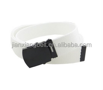 customized pure color 100% cotton fabric canvas polyester Webbing Belts military styles with Black Buckle and Tip 54""