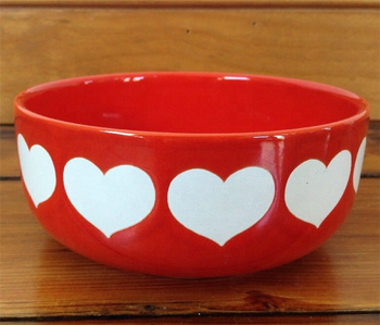 Germany red white heart fancy cheap ceramic rice soup bowl for restaurant