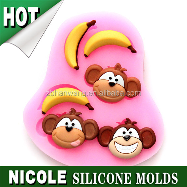 Nicole F0594 mini 3D cute monkey cake decoration silicone molds of cartoon characters